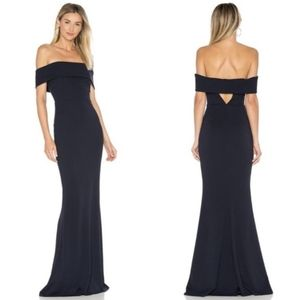 NEW KATIE MAY Legacy Black Off Shoulder Maxi Gown